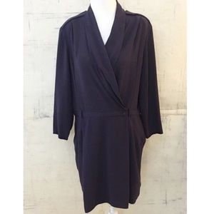 Aritzia Wilfred Franca Crepe Wrap Dress Purple 10